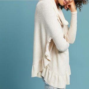 Anthropologie Postmark Cowl Neck Ruffle Sweater